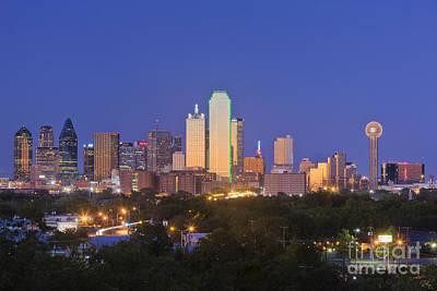 Downtown Dallas Skyline At Dusk Print by Jeremy Woodhouse