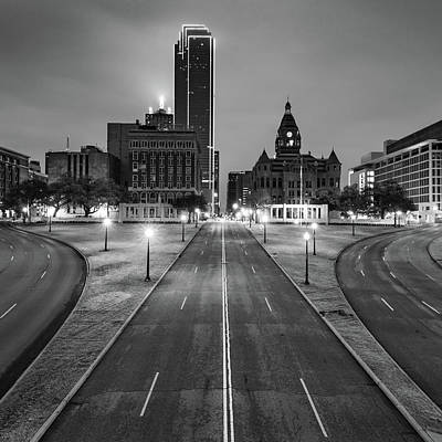 Photograph - Downtown Dallas Skyline - Dealey Plaza Lights - Black And White by Gregory Ballos