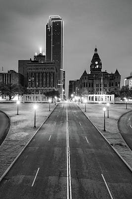Photograph - Downtown Dallas Skyline - Dealey Plaza Lights - Monochrome by Gregory Ballos