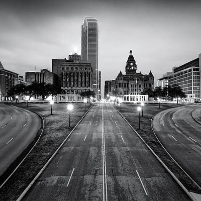 Photograph - Downtown Dallas Texas Black And White Skyline 1x1 by Gregory Ballos