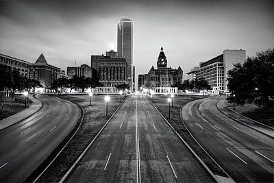 Photograph - Downtown Dallas Texas Black And White Skyline by Gregory Ballos