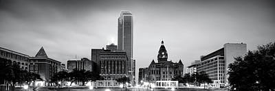 Photograph - Downtown Dallas Texas Black And White Skyline Panoramic by Gregory Ballos