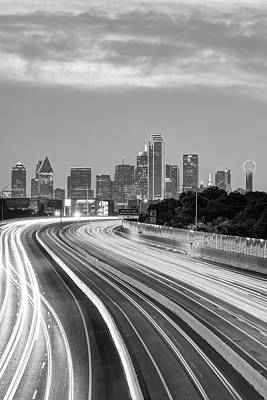 Photograph - Downtown Dallas Texas Skyline Drive - Black And White by Gregory Ballos