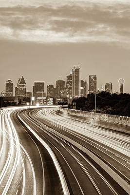 Photograph - Downtown Dallas Texas Skyline Drive - Sepia by Gregory Ballos