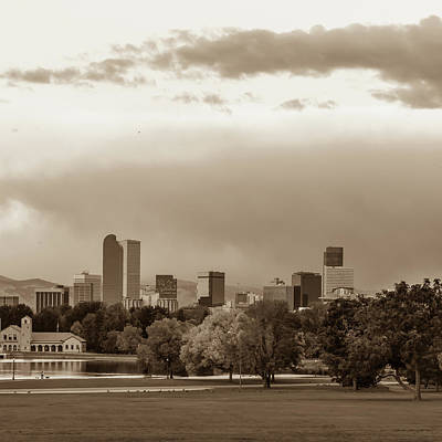 Photograph - Downtown Denver Colorado City Skyline In Sepia 1x1 by Gregory Ballos