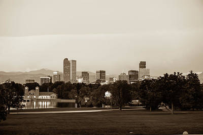 Photograph - Downtown Denver Colorado City Skyline In Sepia by Gregory Ballos