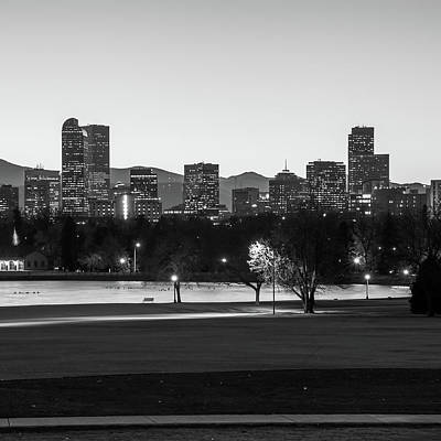 Park Benches Photograph - Downtown Denver Colorado Skyline Black And White 1x1  by Gregory Ballos