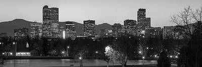 City Buildings Photograph - Downtown Denver Skyline Panorama Black And White - Colorado by Gregory Ballos