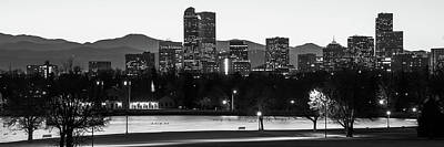 Photograph - Downtown Denver Skyline Panorama Black And White - Colorado - Usa by Gregory Ballos
