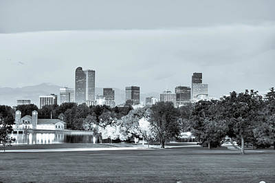 Photograph - Downtown Denver Skyline - Selenium by Gregory Ballos