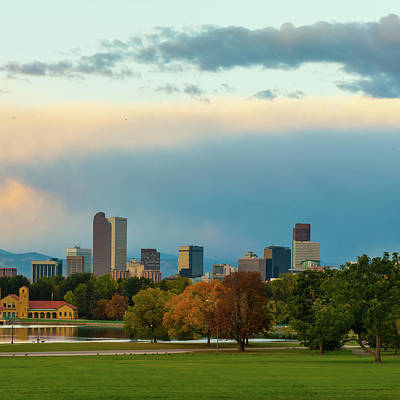 Photograph - Downtown Denver Skyline Under Clouds 1x1 by Gregory Ballos