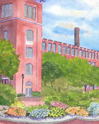 Painting - Downtown Dover Nh Courtyard  by Roseann Meserve