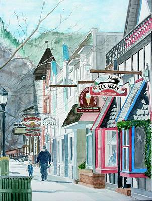 Downtown Estes Park Winter Art Print by Tom Riggs