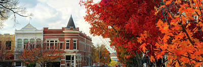 University Of Arkansas Photograph - Downtown Fayetteville Arkansas Autumn Skyline Panorama by Gregory Ballos