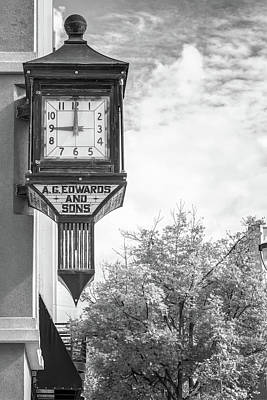 University Of Arkansas Wall Art - Photograph - Downtown Fayetteville Arkansas Clock In Black And White by Gregory Ballos