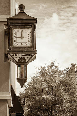 Photograph - Downtown Fayetteville Arkansas Clock In Sepia by Gregory Ballos