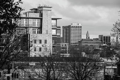 University Of Arkansas Photograph - Downtown Fayetteville Arkansas Skyline - Dickson Street - Black And White Edition. by Gregory Ballos