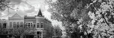 University Of Arkansas Photograph - Downtown Fayetteville Arkansas Skyline Panorama - Black And White by Gregory Ballos