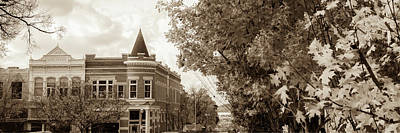 University Of Arkansas Photograph - Downtown Fayetteville Arkansas Skyline Panorama - Sepia by Gregory Ballos