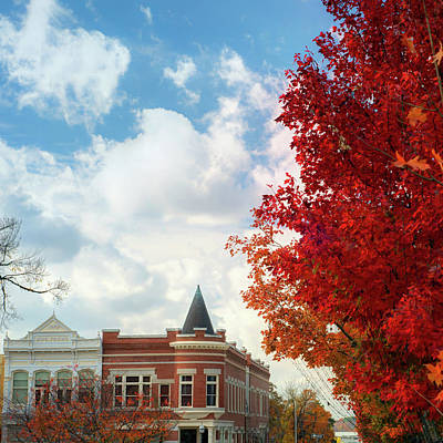 University Of Arkansas Wall Art - Photograph - Downtown Fayetteville Fall Colors - Square Art by Gregory Ballos