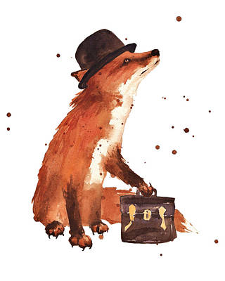 Whimsical Wall Art - Painting - Downtown Fox by Alison Fennell