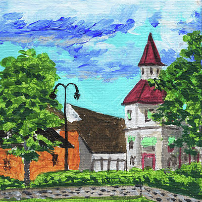 Michigan Frankenmuth Painting - Downtown Frankenmuth Michigan Impressionistic Landscape Xxxii by Irina Sztukowski