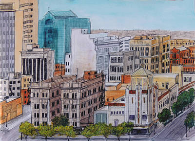 Wall Art - Drawing - Downtown From Above by Candy Mayer
