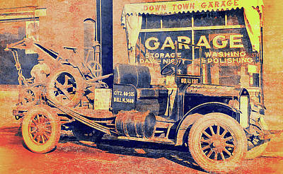 Downtown Garage And Tow Truck Art Print