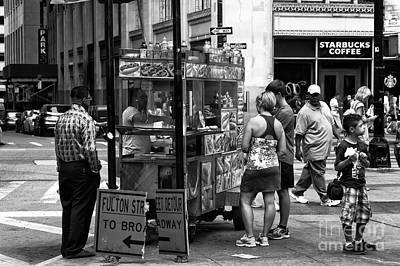 Hot Dogs Photograph - Downtown Hot Dog Mono by John Rizzuto