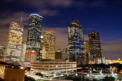 Downtown Houston At Night Print by Olivier Steiner
