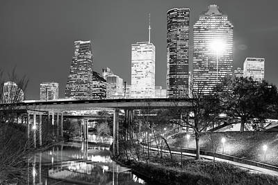 Architecture Photograph - Downtown Houston City Skyline At Night On The Buffalo Bayou - Black And White by Gregory Ballos
