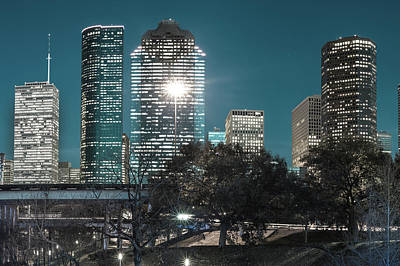Skylines Photograph - Downtown Houston City Skyline - Midnight Blues by Gregory Ballos