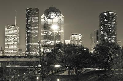 Downtown Houston City Skyline - Sepia Print by Gregory Ballos