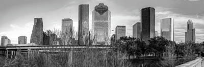 Photograph - Downtown Houston Skyline Panorama In Black And White by Gregory Ballos
