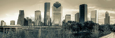 Downtown Houston Skyline Panorama In Sepia Art Print