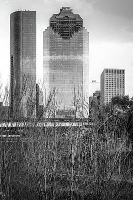 Photograph - Downtown Houston Skyline Through The Trees - Black And White by Gregory Ballos