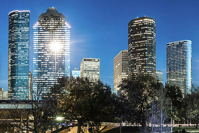 Photograph - Downtown Houston Texas City Skyline And Trees by Gregory Ballos