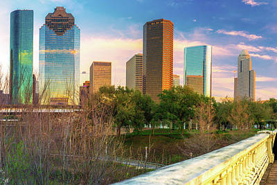Photograph - Downtown Houston Texas City Skyline by Gregory Ballos
