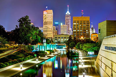 Indianapolis Photograph - Downtown Indianapolis At Night - Canal Walk Skyline View by Gregory Ballos