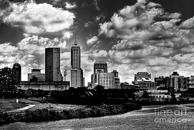 White River Photograph - Downtown Indianapolis Skyline Black And White by David Haskett