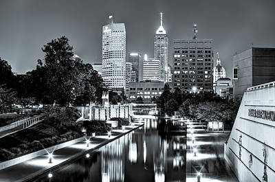 Photograph - Downtown Indianapolis Skyline - Black And White by Gregory Ballos
