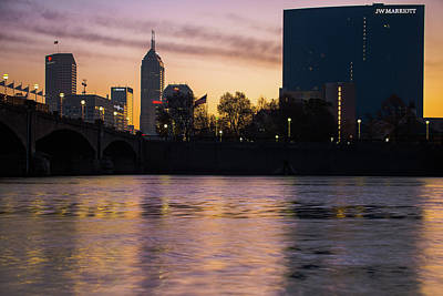 Photograph - Downtown Indianapolis Skyline Silhouettes On The Water by Gregory Ballos