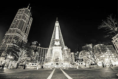 Photograph - Downtown Indy Circle Of Lights - Monument Circle In Bw - Indianapolis by Gregory Ballos