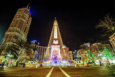 Downtown Indy Circle Of Lights - Monument Circle - Indianapolis Art Print by Gregory Ballos