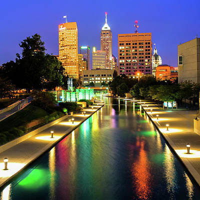 Photograph - Downtown Indy Skyline - Indianapolis Indiana 1x1 by Gregory Ballos