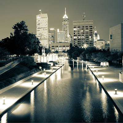 Photograph - Downtown Indy Skyline - Indianapolis Indiana Sepia 1x1 by Gregory Ballos