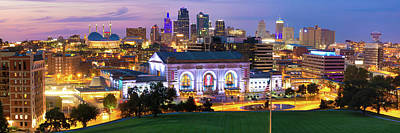 Photograph - Downtown Kansas City Panoramic City Skyline by Gregory Ballos
