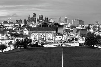 Photograph - Downtown Kansas City Skyline At Dusk In Black And White by Gregory Ballos