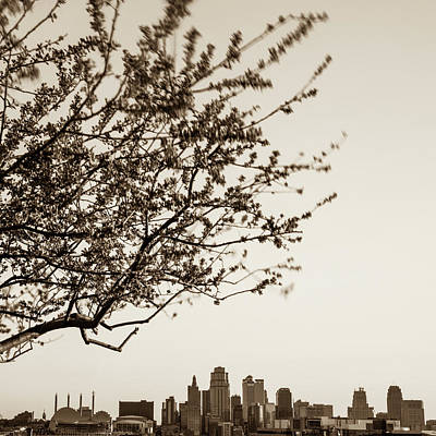Photograph - Downtown Kansas City Skyline Below Spring Tree - Sepia by Gregory Ballos