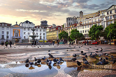 Downtown Lisbon Print by Carlos Caetano